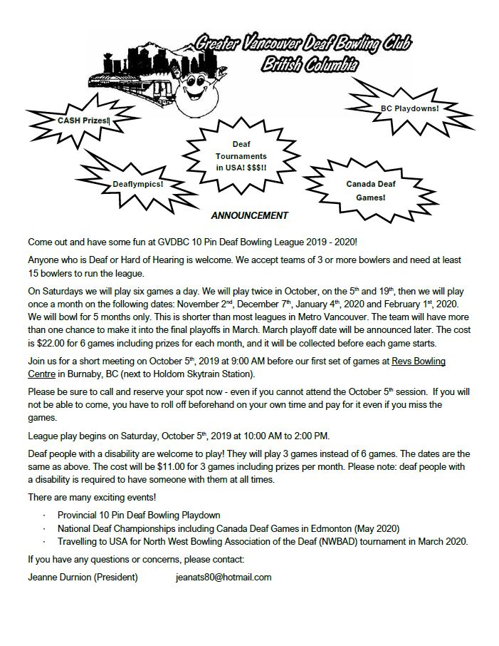 GVDBC's bowling league for 2019-2020 - BC Deaf Sports